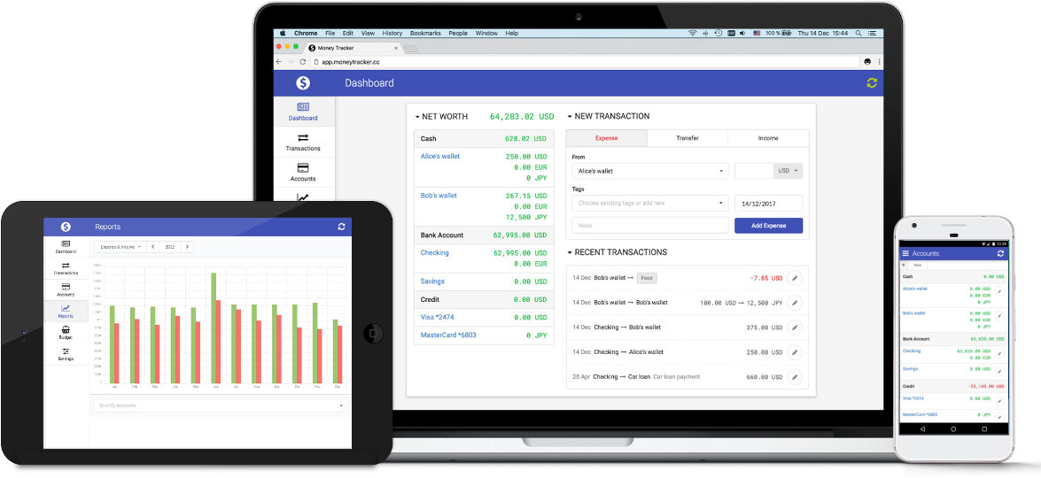 money tracker personal finances tracking web app
